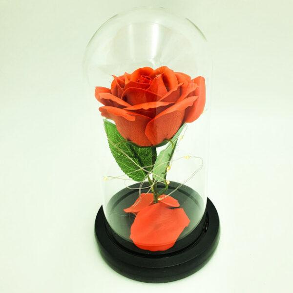 Роза в колбе с led подсветкой красная