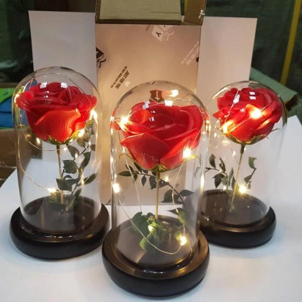 роза в стеклянной колбе ночник